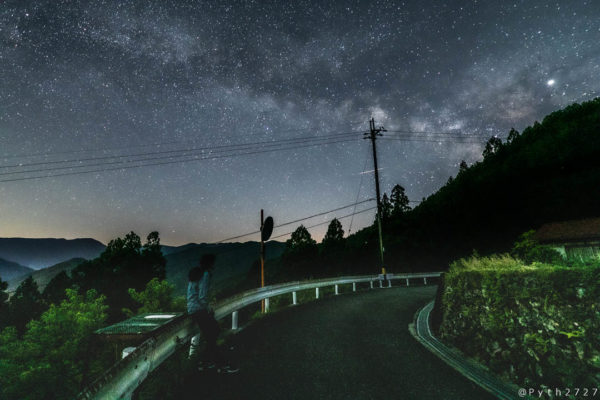 果無集落の星空と天の川