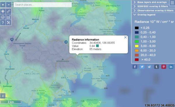面白展望台の光害マップ