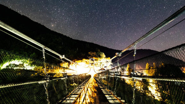 谷瀬の吊り橋から見える星空を紹介します。 (奈良県十津川村)【星景写真】