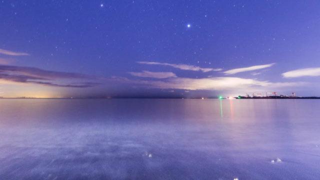 夕焼けの津ヨットハーバーと、星空を撮影してきました(三重県津市)