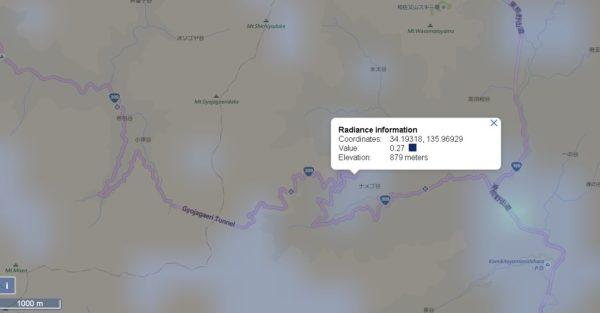 ナメゴ谷の光害マップ