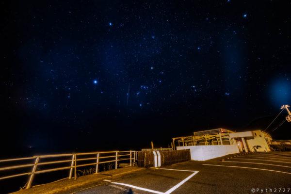 和歌山県すさみ町恋人岬の星空と冬の天の川