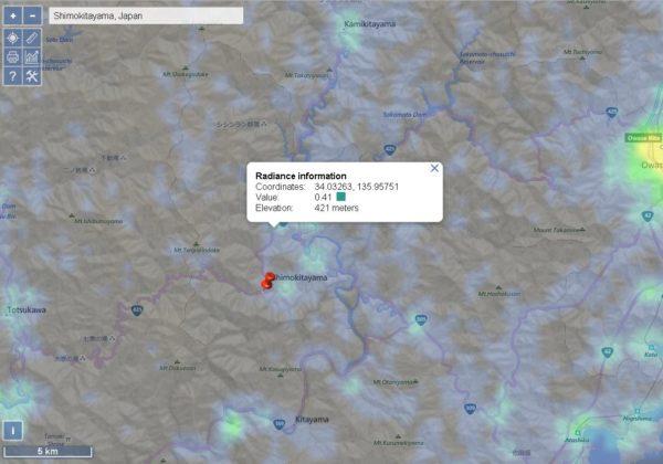 下北山村の光害マップ