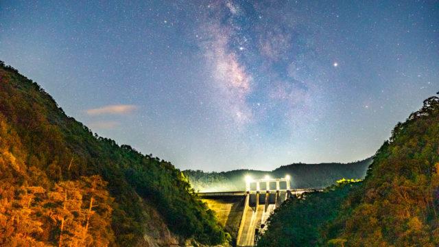 風屋ダムから見える星空を紹介します(奈良県十津川村)