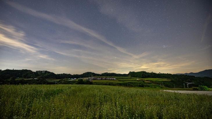 笠のそばの花と星空を撮影に行きました(奈良県桜井市)