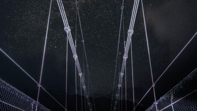 谷瀬の吊り橋から見える星空を紹介します。(奈良県十津川村)
