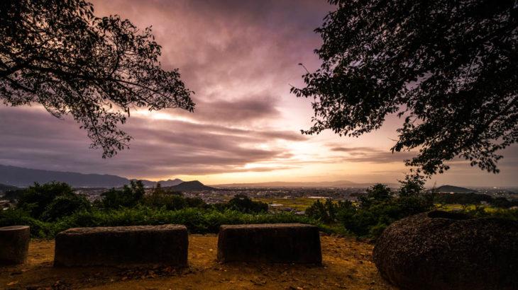 甘樫丘へ夕焼けを撮影にいきました(奈良県明日香村)