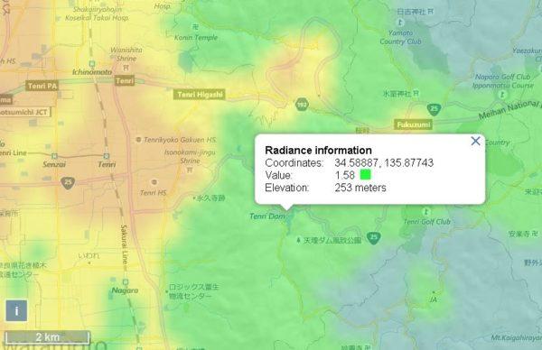 天理ダムの光害マップ