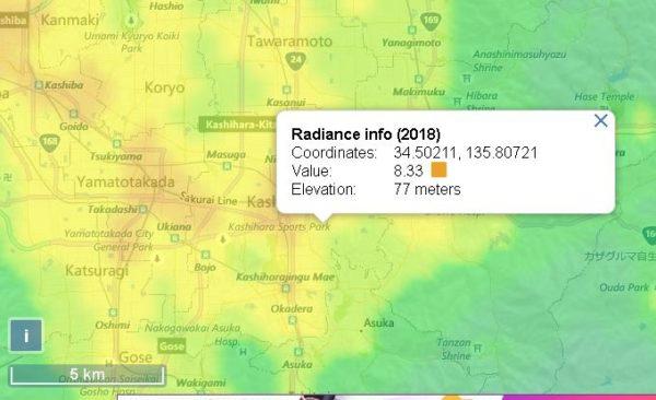 藤原宮跡の光害マップ