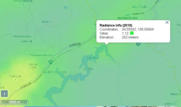 室生ダムの光害マップ