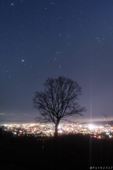 若草山の夜景と星空