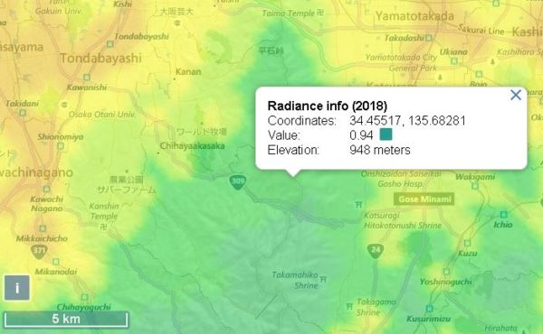 葛城山の光害マップ