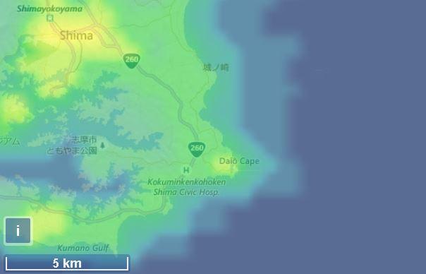 大王埼灯台の光害マップ