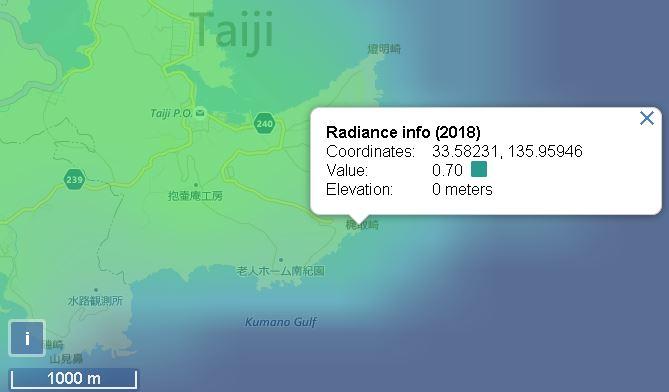 梶取崎園地の光害マップ
