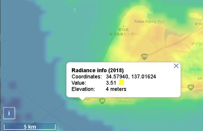 伊良湖岬灯台の光害マップ