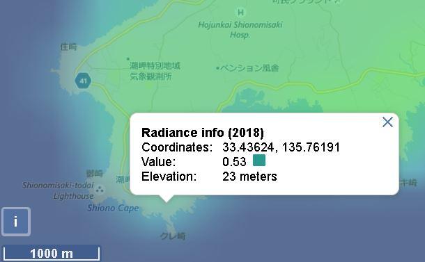 潮岬の光害マップ