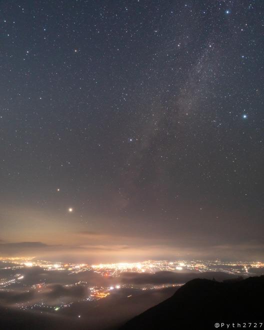 滋賀県 夜景 星