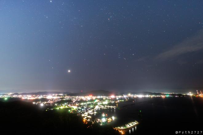 高津子山展望台の夜景と星空の撮影に行きました(和歌山県和歌山市)