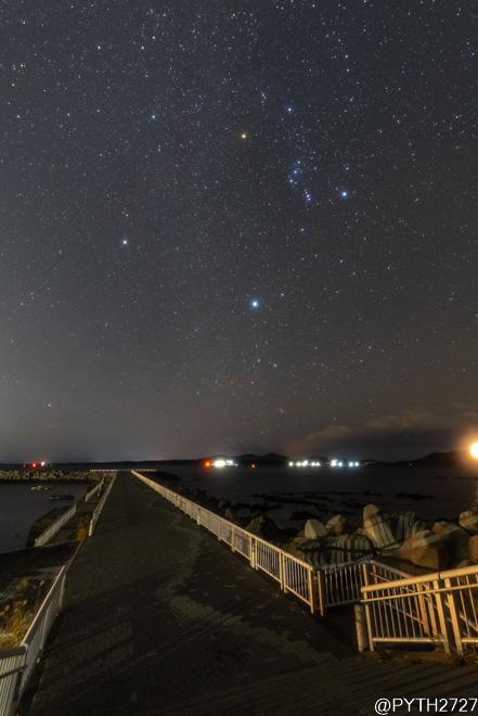 浜島海浜公園 堤防 星空
