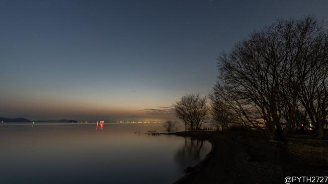 琵琶湖 朝焼け